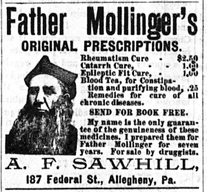 Father Mollinger's Original Prescriptions - Advert - Earlington Bee (Nov 10, 1892, p4).png