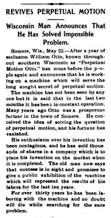 Perpetual Motion Otto - Daily Sentinel (Grand Junction, OH) - 1901-05-25, p. 1.jpg